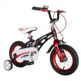 Bicicleta baieti W1246D, roata 12 inch, frana C-Brake, roti ajutatoare, 2-4 ani, negru/rosu