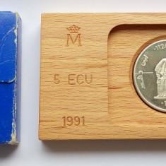 SV * Spania  5  ECU  1991 * AVERROES * ARGINT * in caseta originala      AUNC+
