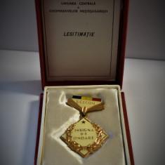 Insigna de Onoare a UCECOM clasa I - la cutie cu legitimatie ( brevet ) 1971 -