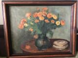 Tablou,pictura foarte veche,germana,in ulei pe panza,vaza cu flori,semnata