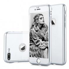 Carcasa 360 telefon Iphone 7 Ultrasubtire Silver Matte Folie Sticla Securizata