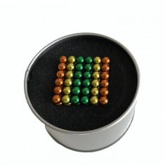 Puzzle Neocube Bile Magnetice 216 bucati cu diametrul de 5 mm Tricolore Verde Portocaliu Galben