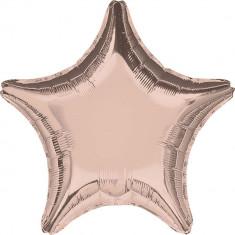 Balon folie metalizat stea Rose Gold - 45 cm, Amscan 36187