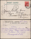 Great Britain 1902 Postcard Old stationery London to Ransart Belgium DB.198