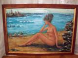 Nud la malul marii, tablou in ulei pe carton semnat si datat 1971, Impresionism