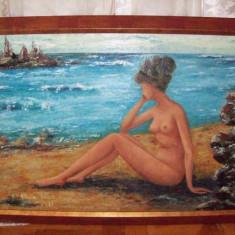 Nud la malul marii, tablou in ulei pe carton semnat si datat 1971