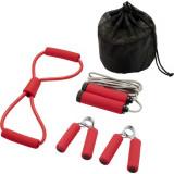 Set 4 accesorii fitness, Everestus, 9IA19038, Poliester, Rosu, saculet sport inclus