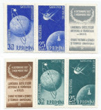 România, LP 444a/1956, Sateliţi art. ai Pământului, tripticuri cu viniete, MNH, Nestampilat