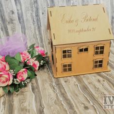Casuta din lemn pentru dar de nunta Gravata