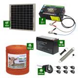 Pachet gard electric cu Panou solar 3,1J putere și 1000m Fir 80Kg cu acumulator