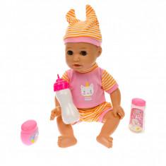 Bebelus de jucarie, cu biberon, pentru copii, roz - L8034R