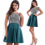 Rochie de ocazie scurta cloche verde cu corset stralucitor de dantela