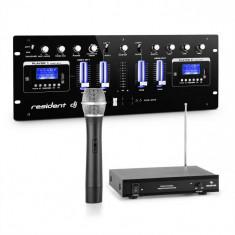 Resident DJ DJ405USB-BK, Mixer DJ cu 4 canale, care include un set de microfon fără fir VHF cu 1 canal