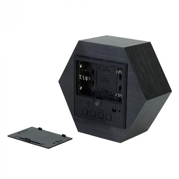 Ceas digital birou, LED rosu, senzor sunet, USB, calendar, termometru, lemn