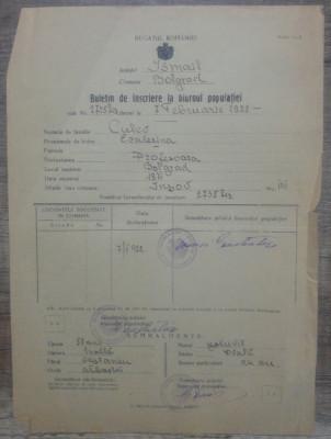 Buletin de inscriere la biuroul Populatiei/ Bolgrad, Ismail, 1922 foto
