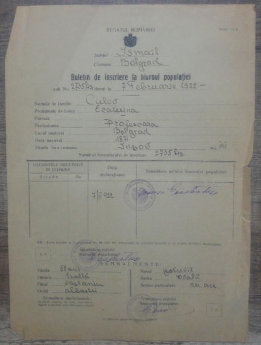 Buletin de inscriere la biuroul Populatiei/ Bolgrad, Ismail, 1922