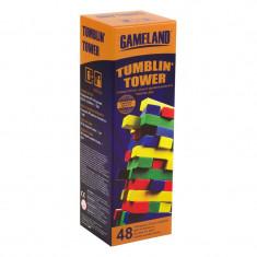 Joc Jenga Tumblin Tower Blocks, 48 piese colorate, 6 ani+