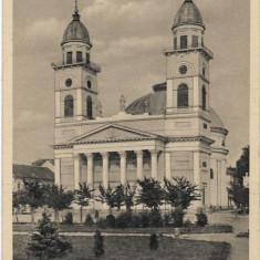 Carte postala maghiara Satu Mare catedrala romano-catolica al doilea razboi