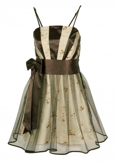 Rochie de seara, scurta, cu broderie florala tesuta manual