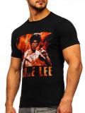 T-shirt pentru bărbat cu imprimeu negru Bolf 001