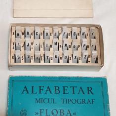 Jucarie veche comunista de colectie JOC ROMANESC - ALFABETAR MICUL TIPOGRAF 1966