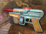Jucarii Vintage - veche jucarie din tabla pistol Space Gun double barrel China !