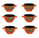 6 boluri de servit din ceramica pentru supa, cu manere, de culoare portocaliu, 650 ml