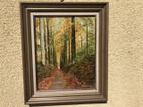 Tablou vechi,pictura in ulei pe panza,peisaj de toamna