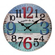 Ceas de perete Antiquite de Paris, 34 cm, Multicolor
