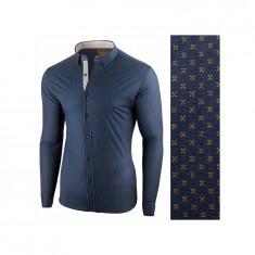 Camasa pentru barbati, bleumarin-galben, flex fit - Lumieres du Soir, 3XL, L, M, S, XL, XXL, Maneca lunga
