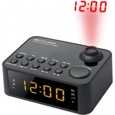 Radio cu ceas MUSE M-178 P, portabil, cu proiectie ajustabila, Dual Alarm, LED, AUX-in, Negru