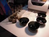 LOT de 5 pahare apa/suc, 4 pahare vin, 4 boluri sticla bruna + 6 boluri incolore