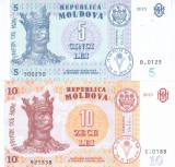 Bancnota Moldova 5 si 10 Lei 2015 - PB22/ 22 UNC ( set x2 )