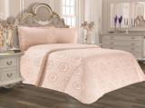 Cuvertură de pat Valentini Bianco din brocard, model Lotus Roz