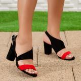 Sandale Palermita rosii cu negru