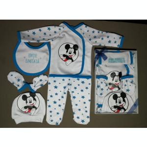 Set 5 piese pentru bebe Mickey Mouse, fabricat în România - albastru