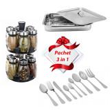 Cumpara ieftin Pachet 3 în 1, format din: Tavă cuptor, Set 12 recipiente, Set de tacâmuri 36 piese