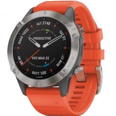 Smartwatch Fenix 6 Sapphire Edition Gri Si Curea Portocalie