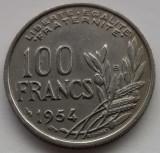 100 franci/francs Franta 1954 B, stare XF