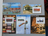Guyana - Timbre trenuri, locomotive, cai ferate, nestampilate MNH, Nestampilat