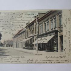 Carte postala litografie Alba Iulia-Partea de promenada/magazine,circulata 1900