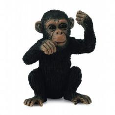 Figurina Cimpanzeu Collecta, 3 x 3.5 cm, plastic cauciucat, 3 ani+, Negru/Maro