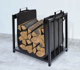 Suport Cos Metalic Elegant pentru Lemne pentru Sobe si Seminee, Culoare Negru, Kaminer