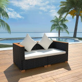 Set mobilier de grădină 6 piese, poliratan, blat WPC, negru