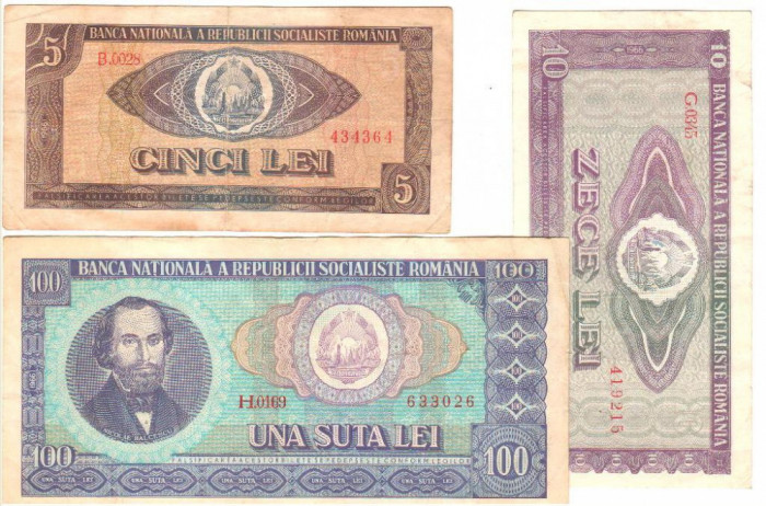SV * Romania  LOT  RSR  *  5 - 10 - 100  LEI  1966
