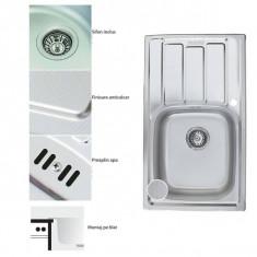 Chiuveta inox pentru blat 43.5x76cm anticalcar cu preaplin FREDDO SN9002