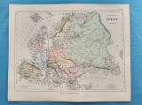 Harta a Europei, tiparita in anul 1865