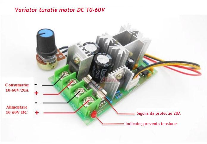 Regulator variator controler turatie motor 12V 24V 48V 60V 20A HHO