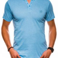 Tricou slim fit barbati S1047 - albastru-deschis