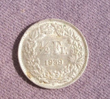 ELVETIA 1/2 FRANCI 1959 ARGINT